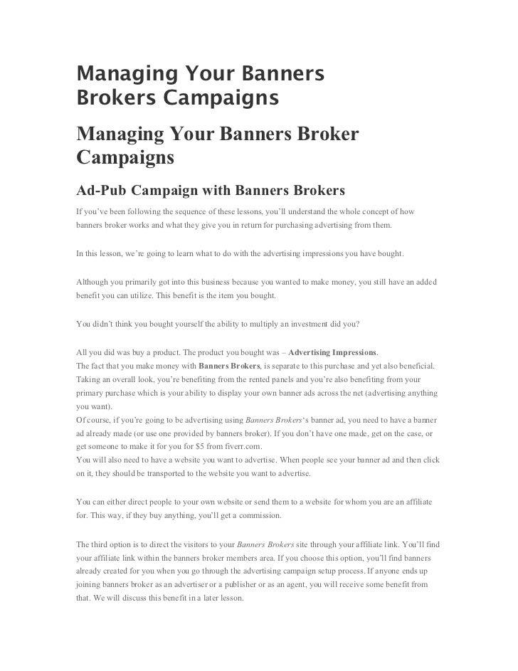 Managing Your BannersBrokers CampaignsManaging Your Banners BrokerCampaignsAd-Pub Campaign with Banners BrokersIf you've b...