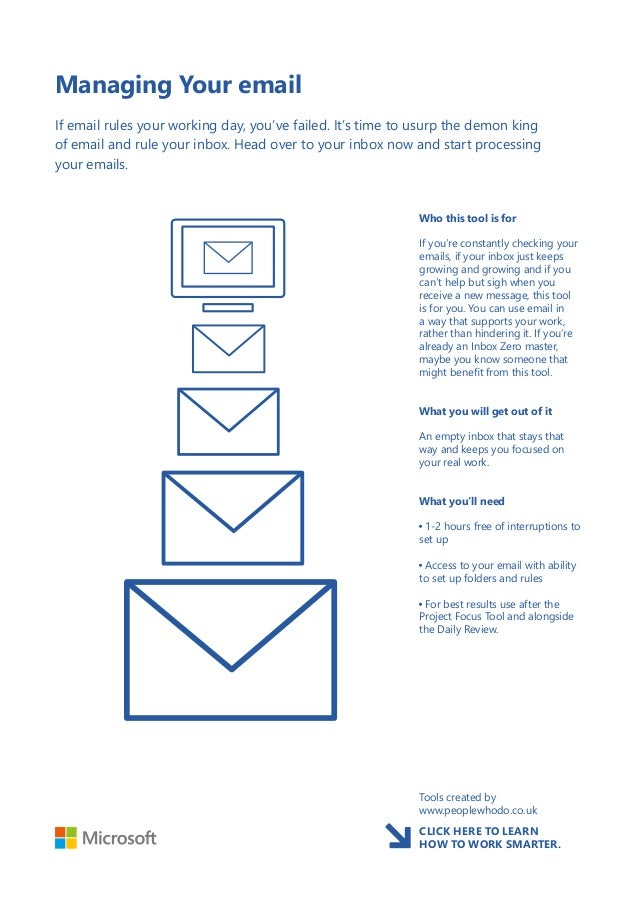 Managing Your email If email rules your working day, you've failed. It's time to usurp the demon king of email and rule yo...