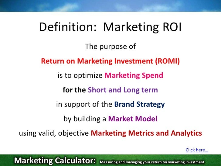 definition of return on investment - roi essay Return on investment (roi) is the ratio of profit made in a financial year as a  percentage of an investment in other words, roi reveals the.