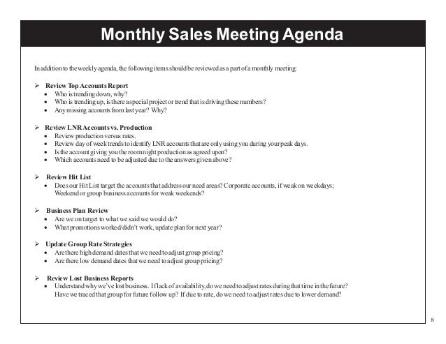 To Prepare A Sales Meeting Agenda
