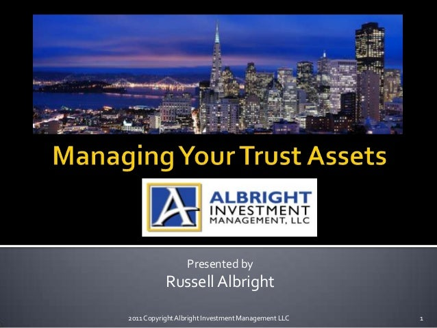 Presented byRussell Albright2011 CopyrightAlbright Investment Management LLC 1