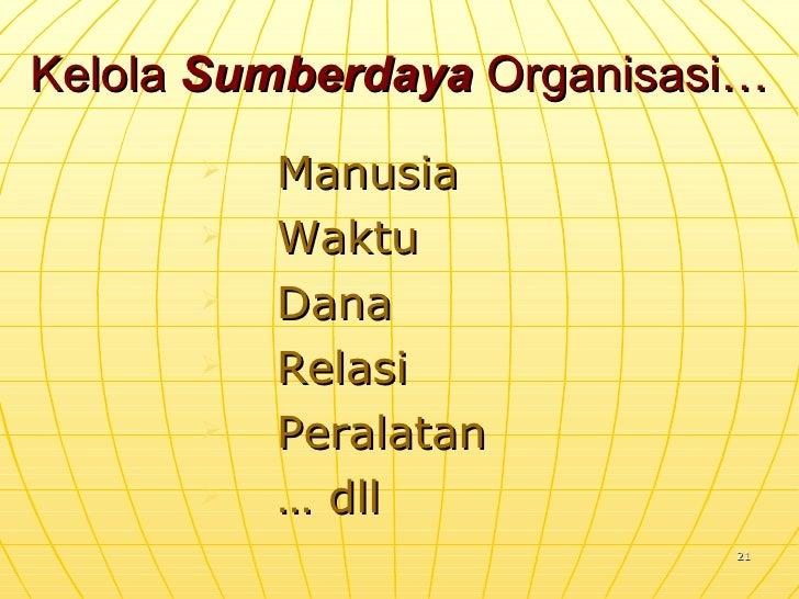 Kelola  Sumberdaya  Organisasi… <ul><li>Manusia </li></ul><ul><li>Waktu </li></ul><ul><li>Dana </li></ul><ul><li>Relasi </...
