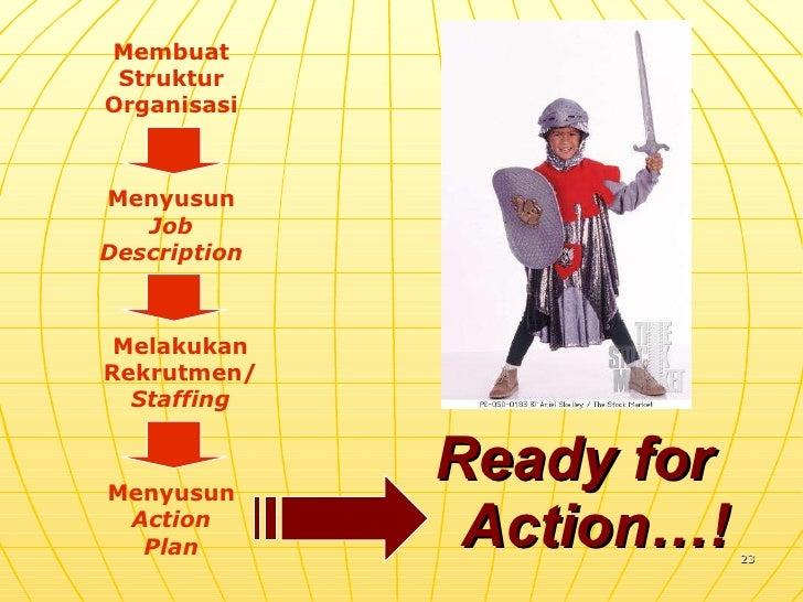 Ready for  Action…! Membuat Struktur Organisasi Menyusun Job Description Melakukan Rekrutmen/ Staffing Menyusun Action Plan