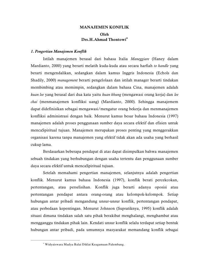 MANAJEMEN KONFLIK                                          Oleh                                  Drs.H.Ahmad Thontowi1. P...