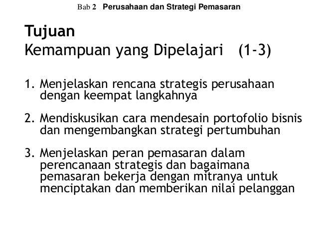 Manajemen Pemasaran Principles of Marketing Philip Kotler & Gary Armstrong Bab 2 - Perusahaan dan Strategi Pemasaran Slide 3