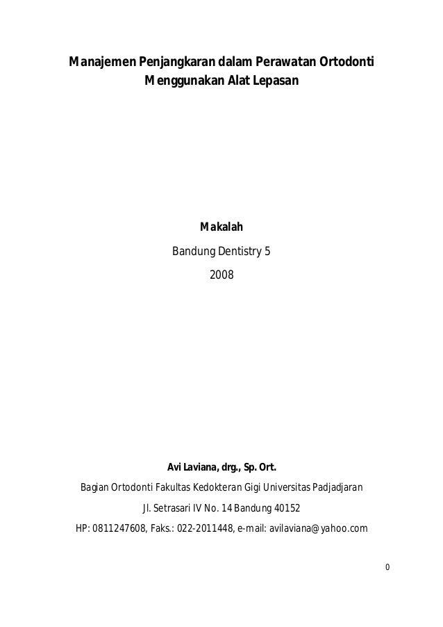 Manajemen Penjangkaran dalam Perawatan Ortodonti Menggunakan Alat Lepasan  Makalah Bandung Dentistry 5 2008  Avi Laviana, ...