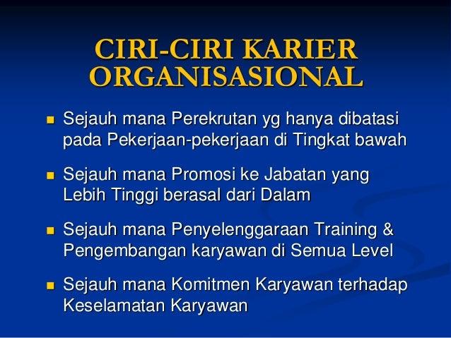 Organisasi yg Berorientasi pada KARIER :  Akan memperlakukan Para Karyawan sebagai SumberDaya yang Berharga  Karyawanaka...