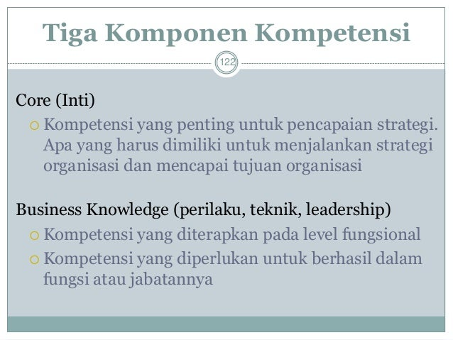 Dua Jenis Kompetensi  123  Hard Competenciesadalah kompetensi yang berasal dari karakteristik yang sifatnya esensial, mis...