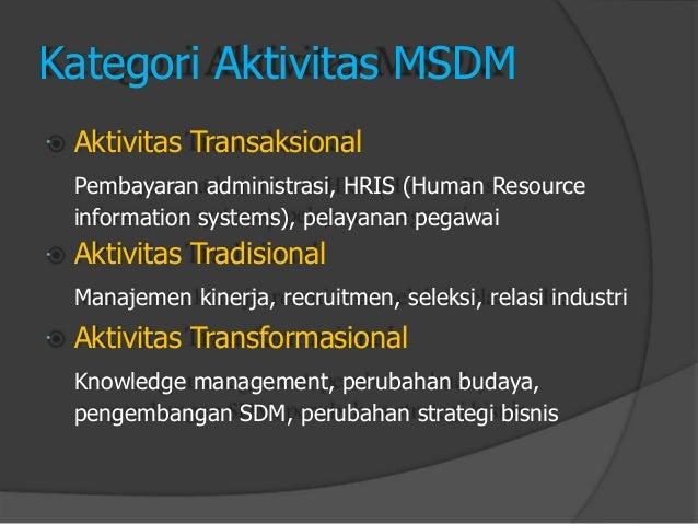       Kategori Aktivitas MSDM  Aktivitas Transaksional  Pembayaran administrasi, HRIS (Human Resource  information syst...