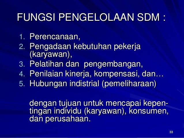 33  FUNGSI PENGELOLAAN SDM :  1.Perencanaan,  2.Pengadaan kebutuhan pekerja (karyawan),  3.Pelatihan dan pengembangan,  4....