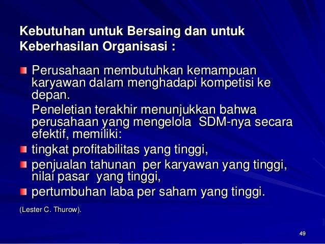 49  Kebutuhan untuk Bersaing dan untuk Keberhasilan Organisasi : Perusahaan membutuhkan kemampuan karyawan dalam menghadap...