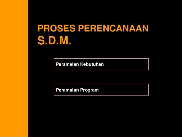 PROSES PERENCANAAN S.D.M.  Peramalan Kebutuhan  Peramalan Program