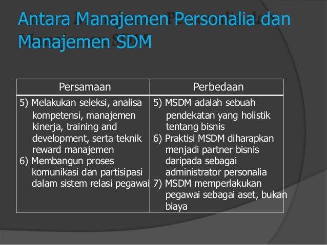 Antara Manajemen Personalia dan  Manajemen SDM  Persamaan  5) Melakukan seleksi, analisa  kompetensi, manajemen  kinerja, ...