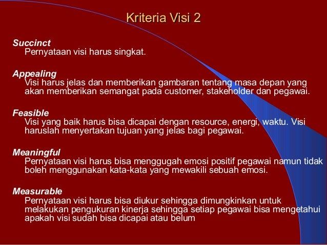 Kriteria Visi 2Kriteria Visi 2 Succinct Pernyataan visi harus singkat. Appealing Visi harus jelas dan memberikan gambaran ...