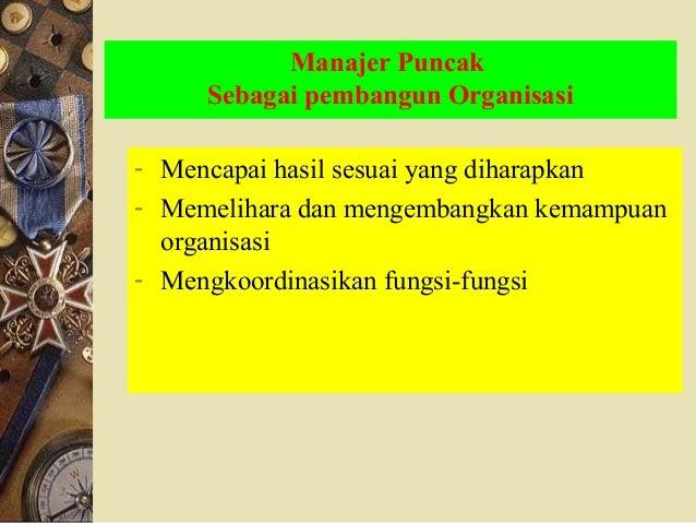 Manajer Puncak Sebagai pembangun Organisasi - Mencapai hasil sesuai yang diharapkan - Memelihara dan mengembangkan kemampu...