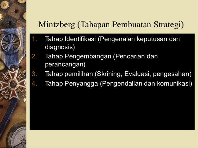 Mintzberg (Tahapan Pembuatan Strategi) 1. Tahap Identifikasi (Pengenalan keputusan dan diagnosis) 2. Tahap Pengembangan (P...