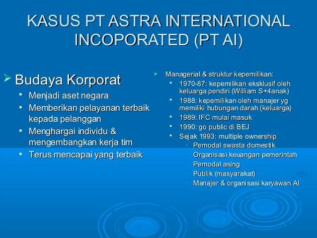 KASUS PT ASTRA INTERNATIONALKASUS PT ASTRA INTERNATIONAL INCOPORATED (PT AI)INCOPORATED (PT AI)  Budaya KorporatBudaya Ko...