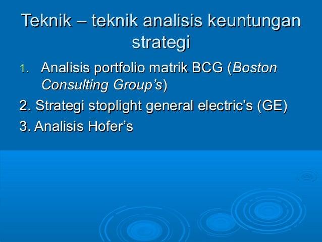 Teknik – teknik analisis keuntunganTeknik – teknik analisis keuntungan strategistrategi 1.1. Analisis portfolio matrik BCG...