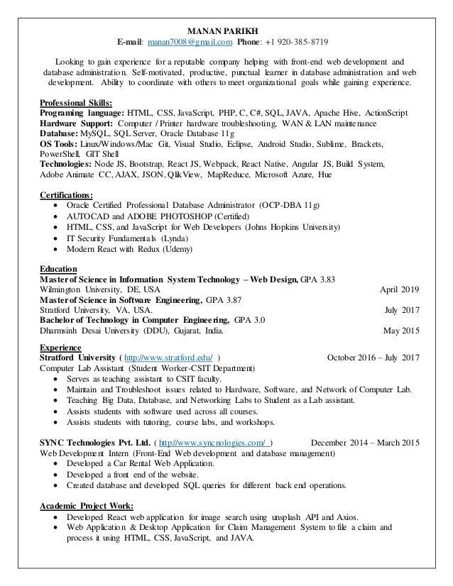 Manan Parikh Resume