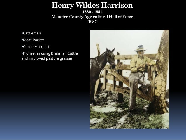 Henry Wildes Harrison 1880 - 1951 Manatee County Agricultural Hall of Fame 1987 •Cattleman •Meat Packer •Conservationist •...