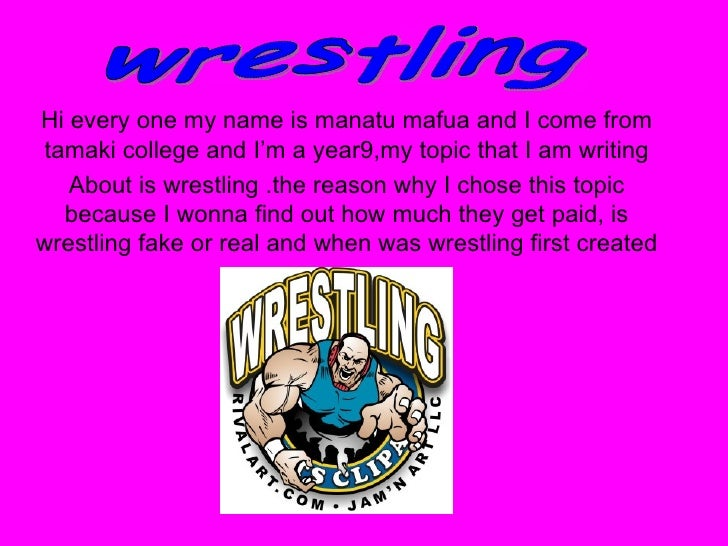 Hi every one my name is manatu mafua and I come from tamaki college and I'm a year9,my topic that I am writing About is wr...