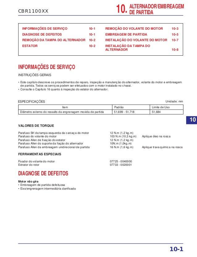 CBR1100XX INFORMAÇÕES DE SERVIÇO 10-1 DIAGNOSE DE DEFEITOS 10-1 REMOÇÃO DA TAMPA DO ALTERNADOR 10-2 ESTATOR 10-2 REMOÇÃO D...