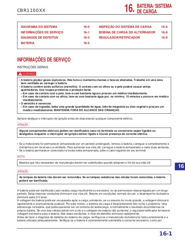 CBR1100XX DIAGRAMA DO SISTEMA 16-0 INFORMAÇÕES DE SERVIÇO 16-1 DIAGNOSE DE DEFEITOS 16-3 BATERIA 16-5 INSPEÇÃO DO SISTEMA ...