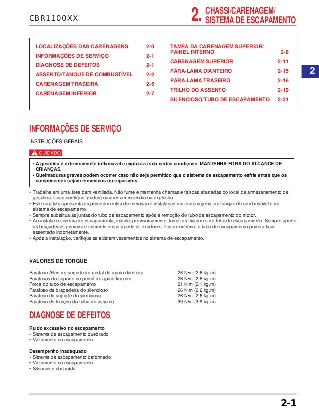 CBR1100XX LOCALIZAÇÕES DAS CARENAGENS 2-0 INFORMAÇÕES DE SERVIÇO 2-1 DIAGNOSE DE DEFEITOS 2-1 ASSENTO/TANQUE DE COMBUSTÍVE...