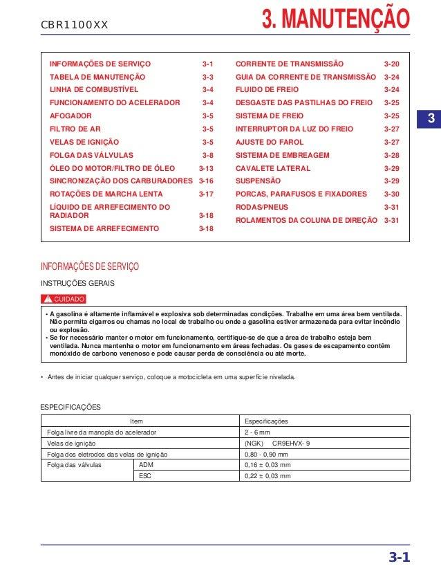 CBR1100XX 3. MANUTENÇÃO INFORMAÇÕES DE SERVIÇO 3-1 TABELA DE MANUTENÇÃO 3-3 LINHA DE COMBUSTÍVEL 3-4 FUNCIONAMENTO DO ACEL...