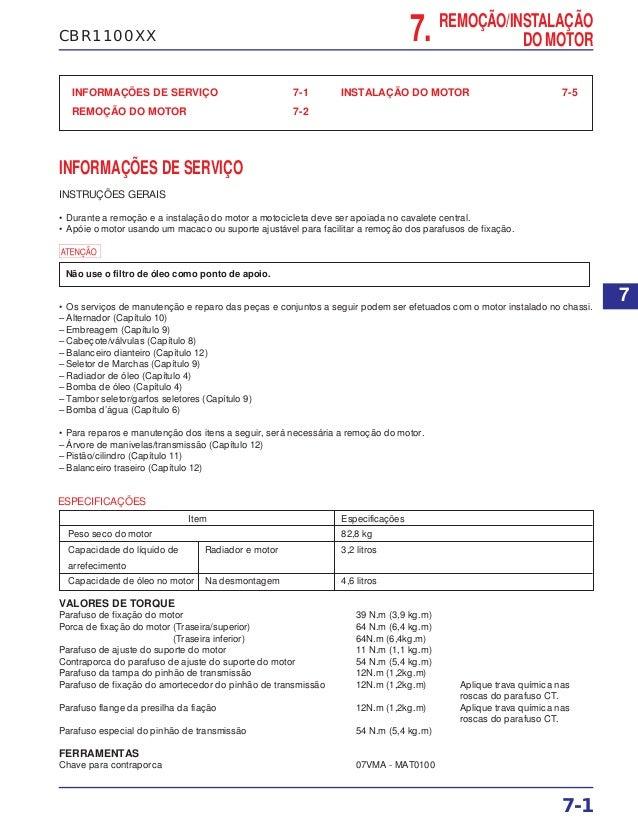 CBR1100XX INFORMAÇÕES DE SERVIÇO 7-1 REMOÇÃO DO MOTOR 7-2 INSTALAÇÃO DO MOTOR 7-5 INFORMAÇÕES DE SERVIÇO INSTRUÇÕES GERAIS...