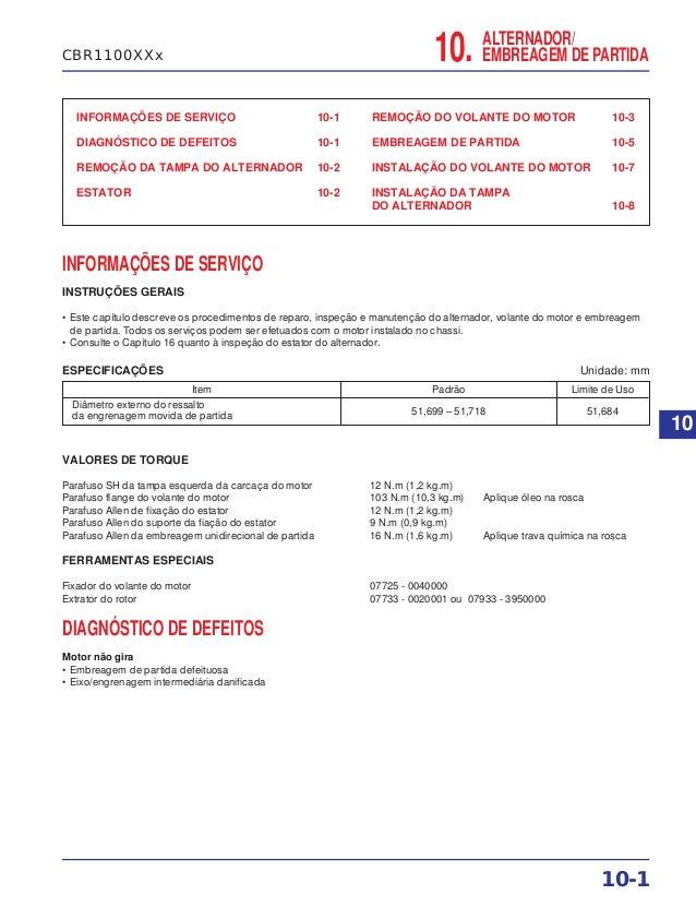 INFORMAÇÕES DE SERVIÇO 10-1 DIAGNÓSTICO DE DEFEITOS 10-1 REMOÇÃO DA TAMPA DO ALTERNADOR 10-2 ESTATOR 10-2 REMOÇÃO DO VOLAN...