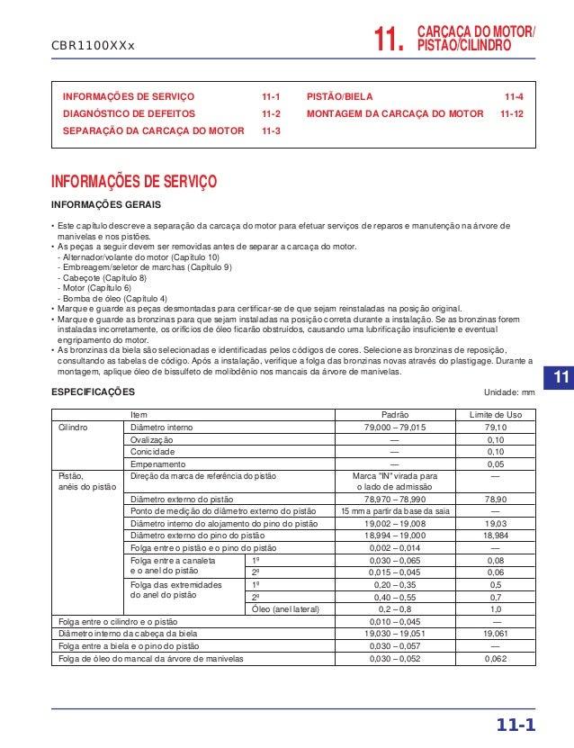 CARCAÇA DO MOTOR/ PISTÃO/CILINDRO INFORMAÇÕES DE SERVIÇO 11-1 DIAGNÓSTICO DE DEFEITOS 11-2 SEPARAÇÃO DA CARCAÇA DO MOTOR 1...