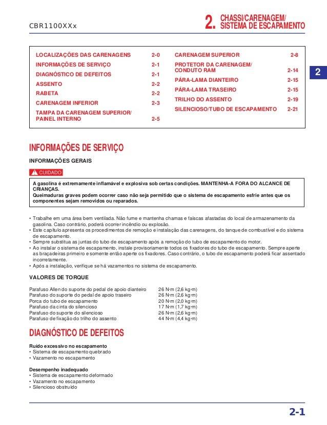 CHASSI/CARENAGEM/ SISTEMA DE ESCAPAMENTO2. LOCALIZAÇÕES DAS CARENAGENS 2-0 INFORMAÇÕES DE SERVIÇO 2-1 DIAGNÓSTICO DE DEFEI...