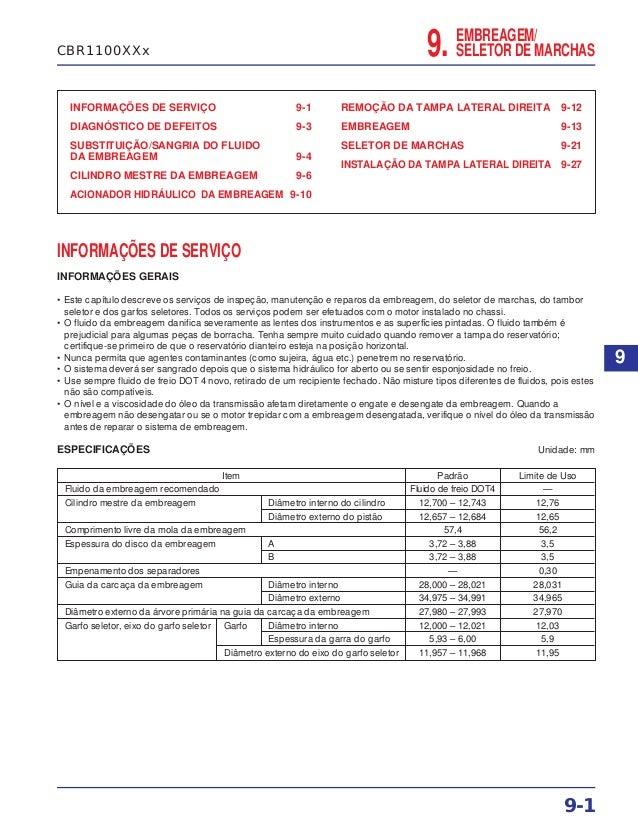 EMBREAGEM/ SELETOR DE MARCHAS9. INFORMAÇÕES DE SERVIÇO 9-1 DIAGNÓSTICO DE DEFEITOS 9-3 SUBSTITUIÇÃO/SANGRIA DO FLUIDO DA E...