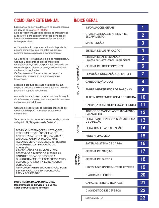 COMO USAR ESTE MANUAL Este manual de serviço descreve os procedimentos de serviço para a CBR1100XXx. Siga as recomendações...