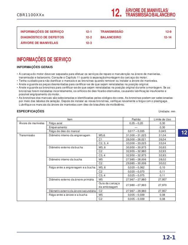 ÁRVORE DE MANIVELAS/ TRANSMISSÃO/BALANCEIRO INFORMAÇÕES DE SERVIÇO 12-1 DIAGNÓSTICO DE DEFEITOS 12-2 ÁRVORE DE MANIVELAS 1...
