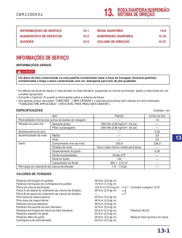 RODA DIANTEIRA/SUSPENSÃO/ SISTEMA DE DIREÇÃO INFORMAÇÕES DE SERVIÇO 13-1 DIAGNÓSTICO DE DEFEITOS 13-2 GUIDÕES 13-3 RODA DI...