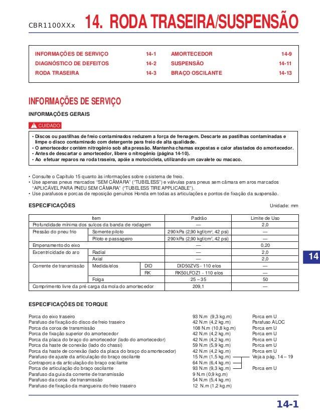 RODA TRASEIRA/SUSPENSÃO INFORMAÇÕES DE SERVIÇO 14-1 DIAGNÓSTICO DE DEFEITOS 14-2 RODA TRASEIRA 14-3 AMORTECEDOR 14-9 SUSPE...