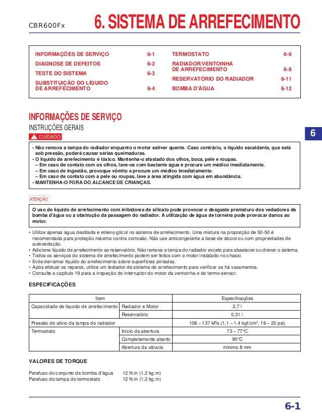 6. SISTEMA DE ARREFECIMENTO INFORMAÇÕES DE SERVIÇO 6-1 DIAGNOSE DE DEFEITOS 6-2 TESTE DO SISTEMA 6-3 SUBSTITUIÇÃO DO LÍQUI...