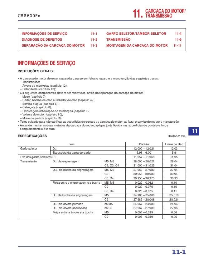 CARCAÇA DO MOTOR/ TRANSMISSÃO11. INFORMAÇÕES DE SERVIÇO 11-1 DIAGNOSE DE DEFEITOS 11-2 SEPARAÇÃO DA CARCAÇA DO MOTOR 11-3 ...