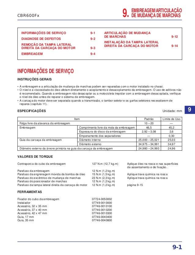 9. EMBREAGEM/ARTICULAÇÃO DE MUDANÇA DE MARCHAS INFORMAÇÕES DE SERVIÇO 9-1 DIAGNOSE DE DEFEITOS 9-2 REMOÇÃO DA TAMPA LATERA...