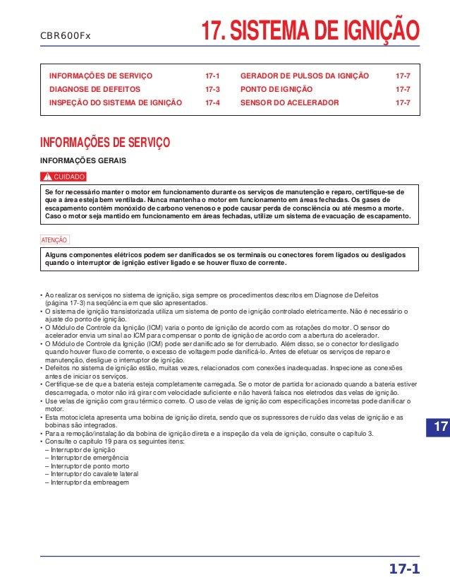 17. SISTEMA DE IGNIÇÃO INFORMAÇÕES DE SERVIÇO 17-1 DIAGNOSE DE DEFEITOS 17-3 INSPEÇÃO DO SISTEMA DE IGNIÇÃO 17-4 GERADOR D...