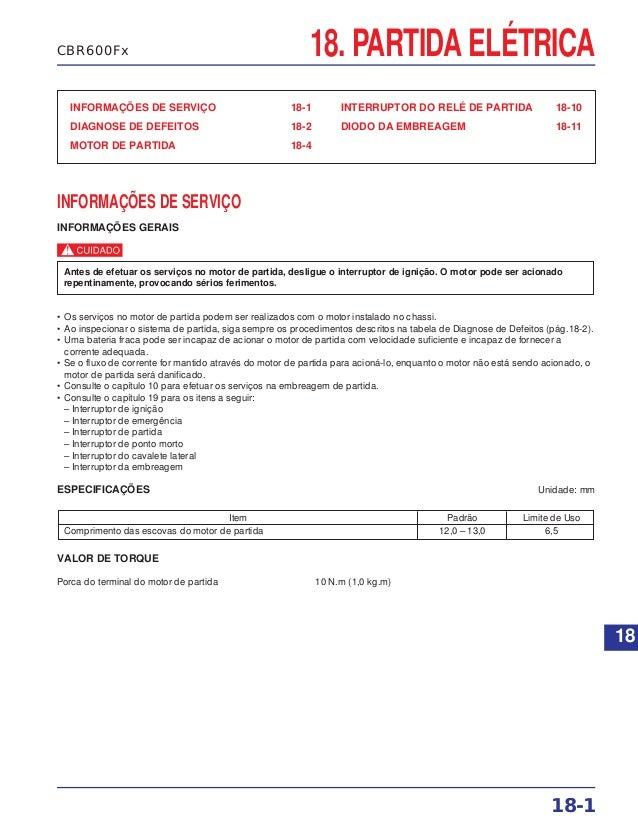 18. PARTIDA ELÉTRICA INFORMAÇÕES DE SERVIÇO 18-1 DIAGNOSE DE DEFEITOS 18-2 MOTOR DE PARTIDA 18-4 INTERRUPTOR DO RELÉ DE PA...