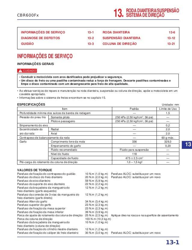 RODA DIANTEIRA/SUSPENSÃO SISTEMA DE DIREÇÃO13. INFORMAÇÕES DE SERVIÇO 13-1 DIAGNOSE DE DEFEITOS 13-2 GUIDÃO 13-3 RODA DIAN...