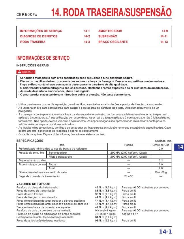 14. RODA TRASEIRA/SUSPENSÃO INFORMAÇÕES DE SERVIÇO 14-1 DIAGNOSE DE DEFEITOS 14-2 RODA TRASEIRA 14-3 AMORTECEDOR 14-9 SUSP...