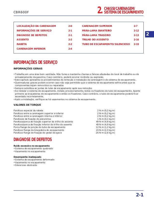 CHASSI/CARENAGEM/ SISTEMA DE ESCAPAMENTO2. LOCALIZAÇÃO DA CARENAGEM 2-0 INFORMAÇÕES DE SERVIÇO 2-1 DIAGNOSE DE DEFEITOS 2-...