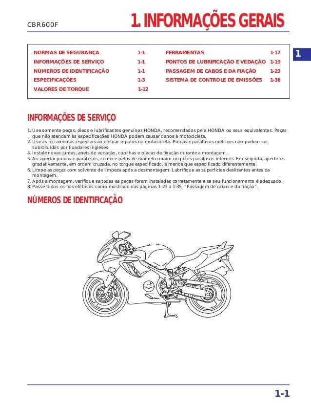 1. INFORMAÇÕES GERAIS NORMAS DE SEGURANÇA 1-1 INFORMAÇÕES DE SERVIÇO 1-1 NÚMEROS DE IDENTIFICAÇÃO 1-1 ESPECIFICAÇÕES 1-3 V...