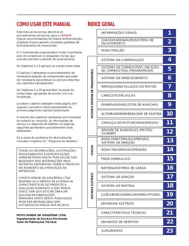 COMO USAR ESTE MANUAL Este manual de serviço descreve os procedimentos de serviço para a CBR600F. Siga as recomendações da...