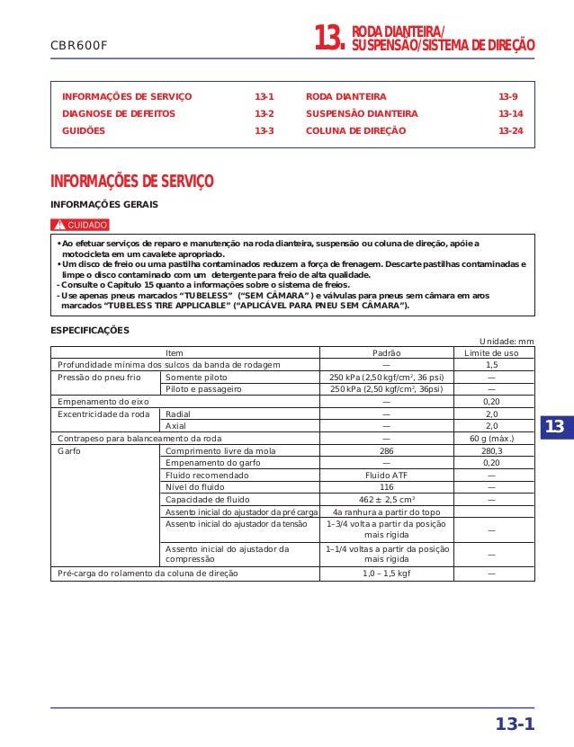 RODA DIANTEIRA/ SUSPENSÃO/SISTEMA DE DIREÇÃO INFORMAÇÕES DE SERVIÇO 13-1 DIAGNOSE DE DEFEITOS 13-2 GUIDÕES 13-3 RODA DIANT...