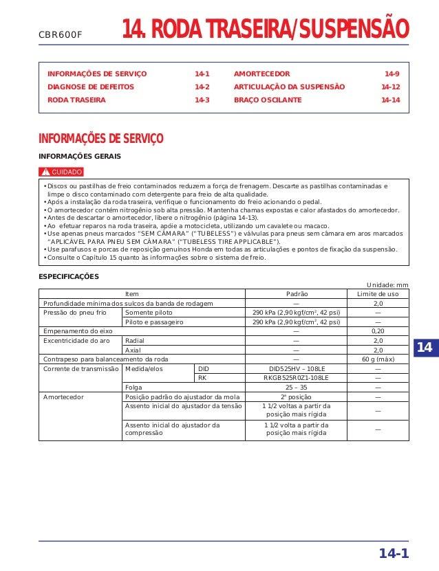 RODA TRASEIRA/SUSPENSÃO INFORMAÇÕES DE SERVIÇO 14-1 DIAGNOSE DE DEFEITOS 14-2 RODA TRASEIRA 14-3 AMORTECEDOR 14-9 ARTICULA...